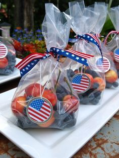 red, white, and blue fruit treats (I think substituting in strawberries and adding yogurt-covered raisins would be smashing!)