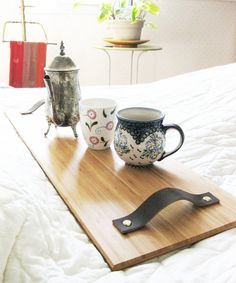 Breakfast in Bed Tray with bamboo, recycled leather and brass hardware