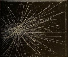 tracks of meteors deriving from a radiant point during a meteor shower
