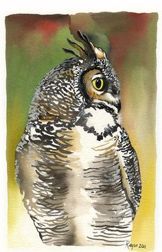 "ORIGINAL Watercolor Owl Painting / ""Night Watchman"" / Great Horned Owl"
