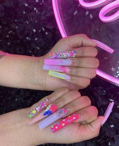 Drip Nails, Bling Acrylic Nails, Aycrlic Nails, Summer Acrylic Nails, Best Acrylic Nails, Bling Nails, Dope Nail Designs, Cute Acrylic Nail Designs, Long Square Acrylic Nails