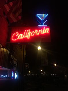 California Sign, Vintage California, Word F, Neon Words, Neon Light Signs, Old Signs, Welcome To The Family, Neon Lighting, Shop Signs