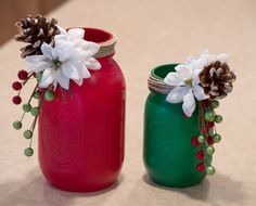 Painted Mason Jars  Christmas Decor  Twine  by WNCarolinaGirl