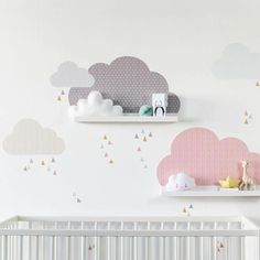 Set of 3 wall stickers suitable for IKEA Ribba/Mosslanda Picture ledges Decal for picture ledge: 55 cm Adults as well as children will enjoy these clouds. These childrens' shelves are not only beautiful, but also can serve for storing small treasures. Your child can decide which picture