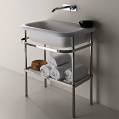 Agape Ottocento basin on chrome frame for website. Bathroom Sink Design, Modern Bathroom Sink, Bathroom Fixtures, Bathroom Sinks, Bathrooms, Vanity Units, Designer, Furniture Design, Interior