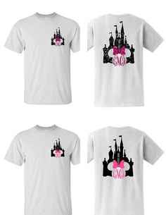 Everyone loves matching Disney shirts. This design is the Castle with Minnie bow with and a monogram. The front has a small castle monogram in the left corner, and the back has a large castle monogram. We use either unisex heavy cotton gildan or fruit of the loom t-shirts along with heat transfer vinyl or glitter heat transfer vinyl for the design. Please list initials in this order first, LAST, middle. See example below. The last initial goes in the middle since it is larger. You can choose…