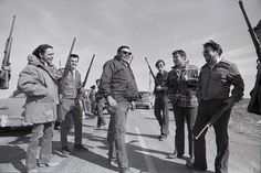 Tribal chairman Dick Wilson, center, with his supporters at Wounded Knee, 1973.  Photo credit: Jim Hubbard