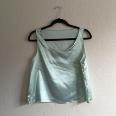 """American Apparel Satin Charmeuse Loose Tank Worn once, perfect condition. Color is """"White Green Diagonal Stripe"""" Size is """"One size but can fit from an XS for a slightly looser fit, then from a S/M. Fits a S/M best. Very soft satin/silk-like material. From a far, it looks like a minty-colored top. So cute! Feel free to ask questions! American Apparel Tops Tank Tops"""