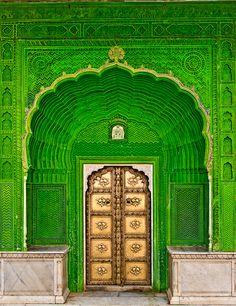Door of Ganesh | India, Jaipur - Peacock Courtyard, City Palace, 18th century