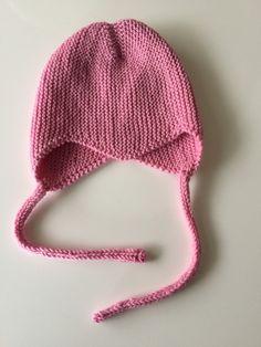 Hand Knit Baby Hat Baby Bonnet Earflap Hat by LittlePinkCanary
