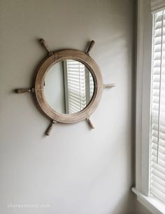 Shore Society: Ship's Wheel Mirror Makeover