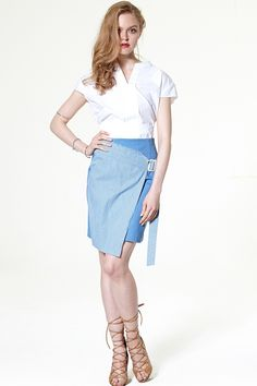 Celia Faux Wrap Denim Skirt Discover the latest fashion trends online at storets.com #ootd #fashion #trend #skirt #stripe #summer
