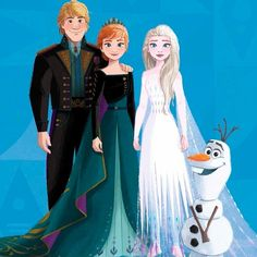 Queen Anna, King Kristoff, Elsa and Olaf from Frozen 2 Disney Xd, Cute Disney, Disney And Dreamworks, Disney Pixar, Frozen Film, Frozen Art, Olaf Frozen, Anna Frozen, Destinations