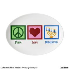 Cute Hanukkah Porcelain Serving Platter. A pretty decorative plate to use at Hanukkah dinner with a peace sign, heart, and menorah. Peace Love Hanukkah meal platter to serve challah bread, tsimmis or any other Jewish dish.