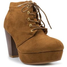Forever Camille-86 Women's Comfort Stacked Chunky Heel Lace Up Ankle... ($13) ❤ liked on Polyvore featuring shoes, boots, ankle booties, wide booties, laced up boots, laced up ankle boots, lace up boots and lace up ankle bootie