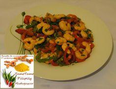 Crevettes aux poivrons rouges et verts © Recette de cuisine artisanale d'Ambanja ( Madagascar )