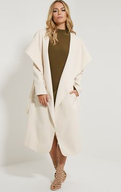 Veronica Beige Oversized Waterfall Coat Image 1