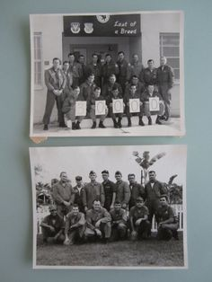 Two 8x10 black and white United States Air Force photographs of squadrons dressed in their flight gear.