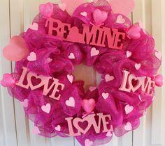 valentines mesh wreaths | Pink Deco Mesh Valentine's Day Wreath Ready to Ship. Valentine ...