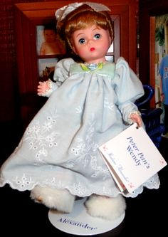 """Madame Alexander's Peter Pan Wendy Doll 8"""" tall with embroidered outfit and fuzzy slippers."""