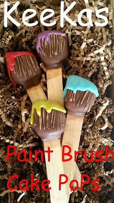 12 paint brush cake pops paint party art party by Keekasweetreat