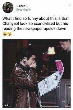 Chanyeol is just very talented and can read upside down Park Chanyeol, Chanyeol Baekhyun, Exo Chanbaek, Exo Ot12, Kpop Exo, Exo K, K Pop, Xiuchen, Exo Memes