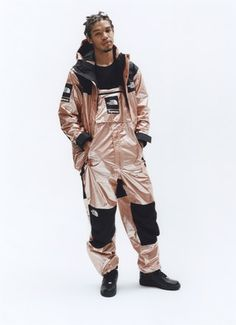 Supreme x The North Face Metallic Spring 2018 Collection Gold Silver Rose Gold Mountain Parka Roo II Bag Backpack Sling Bag Overalls Bib Pants T-Shirt Hooded Sweatshirt The North Face, Sweat Shirt, Supreme Clothing, Metal Shirts, Pullover, Streetwear Fashion, Streetwear Shop, Outdoor Gear, Hooded Sweatshirts