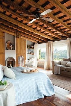 Check Out 25 Provence Bedroom Decor Ideas You'll Hunger For. Provence style means romance and charm, so if you are addicted to it like we are, this article is for you! Wood Bedroom, Dream Bedroom, Bedroom Decor, Bedroom Ideas, Bedroom Fireplace, White Bedroom, Entryway Decor, Style At Home, Design Apartment