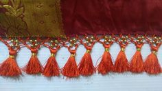 Saree tassels making using round beads I Saree kuchu design I saree gond...