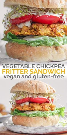 A fresh, vibrant vegan chickpea fritter sandwich loaded with avocado, fresh greens and easy panfried tomatoes. The chickpea fritters are crispy, fuss-free and delicious to eat by themselves, too…More Vegan Recipes Easy, Lunch Recipes, Whole Food Recipes, Vegetarian Recipes, Dinner Recipes, Vegan Chickpea Recipes, Dinner Ideas, Restaurant Recipes, Vegan Food