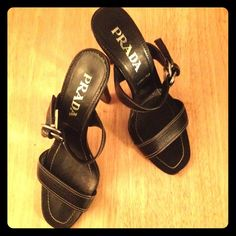 PRADA SANDALS Sale Today PRADA Black Leather Sandal. Double Strap. Silver tone buckle. A lot of PRADA life with out the high price. A few light scratches. Wear on bottom. Prada Shoes Sandals