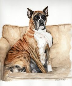 Custom Dog Portrait  Watercolor painting of by PatouPetPortraits