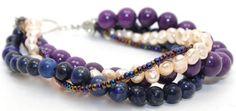 Gorgeous 4 Strands Lapis, Purple Jade, Pale Pink Pearls and Purple Czech Seed Beads Bracelet | AyaDesigns - Jewelry on ArtFire