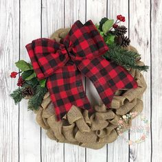Excited to share this item from my shop: Christmas Burlap Wreath with Buffaloc Check Plaid Bow, Farmhouse Christmas Wreath, Holiday Burlap Wreath, Red and Black Buffalo Plaid Bow Holiday Burlap Wreath, Burlap Ornaments, Burlap Garland, Burlap Christmas, Diy Wreath, Christmas Wreaths, Christmas Decorations, Holiday Decor, Burlap Wreaths
