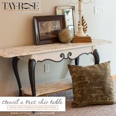 Stencils Can Create DIY Custom Furniture Good morning, my Cutting Edge Stencils fans.  Do you feel like coffee tables or end tables are a dime a dozen? Not so fast! A stenciled table is an easy way to add standout style to your space.  A dash of unexpected color and pattern will certainly pair fash