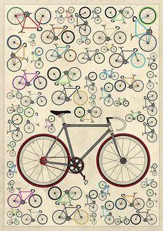 Bike Wall Art -- Love Fixie Road Bike by Andy Scullion