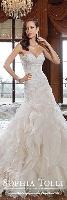 The Sophia Tolli Fall 2015 Wedding Dress Collection - Style No. Y21511 www.sophiatolli.com #weddingdresses #weddinggowns