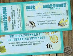 Wedding at the Aquarium Vintage Ticket by HydraulicGraphix on Etsy, $31.50