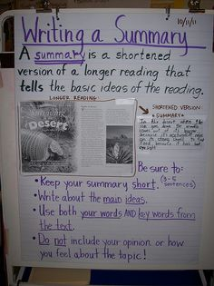 Summary Anchor Chart - This is great, summarizing is so hard for them!
