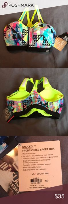 48b38a4ef2 NWT Victoria s Secret VSX Knockout front zip bra New with tag Knockout by  Victoria s secret front close sport bra with Reflective Features! Awesome  pattern!