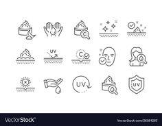 Skin care line icons. Collagen, Cream, Serum oil and Skincare. Face sun lotion gel, Uv protection, v Web Design, Icon Design, Graphic Design, Beauty Web, Beauty Tips, Sun Lotion, Skincare Blog, Skin Care Cream, Face Skin Care