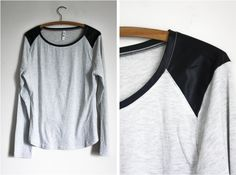 Grey Long Sleeve T-shirt with Pleather Detail #style #fashion #outfit #ootd #fashionblog #fblogger #fblog #fashionblogger #outfitidea