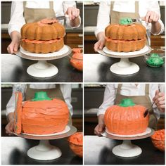 Fear not! Putting together this eye-poppingly orange cake is less trick and more… – Cakes 🍰 Fear not! Putting together this eye-poppingly orange cake is less trick and more… – Cakes 🍰,Essen Fear not! Halloween Desserts, Postres Halloween, Halloween Cakes, Halloween Halloween, Halloween Smash Cake, Halloween Dishes, Pumpkin Patch Cake, Pumpkin Shaped Cake, Pumpkin Patch Birthday