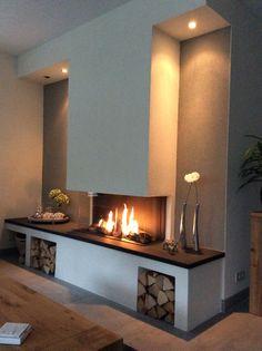 Kamin Wohnzimmer Photo Page Wooden Fireplace, Fireplace Wall, Living Room With Fireplace, Fireplace Design, Home Living Room, Living Room Designs, Living Room Decor, Electric Fireplace, Industrial House