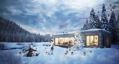 3d visualisation | CGI of a winter christmas scene