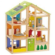 Hape Houten Poppenhuis incl. poppenhuismeubeltjes en poppenh
