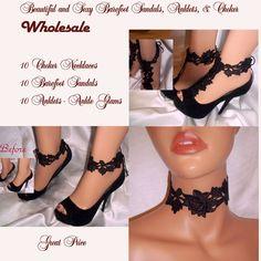 30 Pieces Wholesale Beautiful Black Lace Barefoot Sandals, Anklets, Chokers