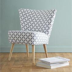 Baumwollsessel im Vintage-Stil mit Motiven, grau/weiß