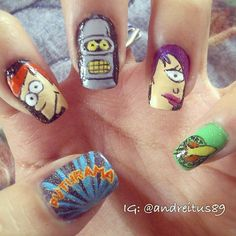 """#Futurama! #nailart"" Photo taken by @andreitus_nails on Instagram, pinned via the InstaPin iOS App! http://www.instapinapp.com (01/09/2013)"