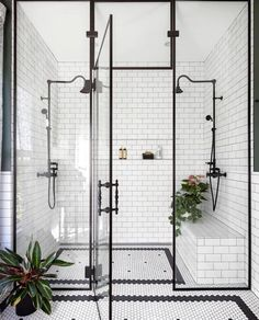 Home Interior Design black and white bathroom walk in shower with built in seat.Home Interior Design black and white bathroom walk in shower with built in seat Bathroom Goals, Bathroom Inspo, Bathroom Inspiration, Shower Bathroom, Design Bathroom, Master Shower, Bathroom Carpet, Shower Tiles, Cool Bathroom Ideas